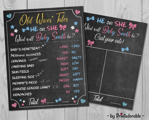 Old Wives Tale - Gender Reveal Sign - Boy or Girl - He or She - Baby Shower Game - Baby Shower Sign - Gender Reveal - He or She Sign - Baby