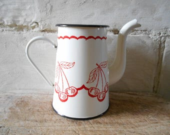 French enamel coffee pot, cherry decor, to reuse as vase, cottage chic, red and white enamel, rustic farmhouse country kitchen, French decor