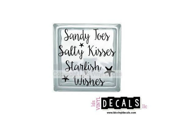 Sandy toes salty kisses starfish wishes beach vinyl lettering for glass blocks vinyl decals for crafts from ldsvinyldecals on etsy studio