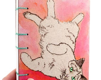 Pink Cat Journal - Lay Flat Journal - Unlined Journal - Coptic Stitch - 160 Pages - handmade by Ruth Bleakley
