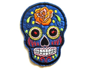 Blue Sugar Skull Embroidered Patch Appliqué Skull and Crossbones