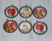 6 Assorted Primitive Nostalgic Valentine's February 14 Hearts Cupid Love Birds 1 1/4 Inch Bottle Cap Charms Party Decor Favors Necklace