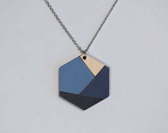 Wooden Necklace, Black - Navy Blue - Steel Blue,  Minimalist Geometric Jewelry, Hexagon Pendant, Simple Necklace, Everyday Necklace