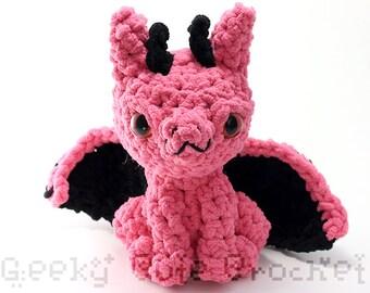 Pink Large Dragon Plush Toy Stuffed Animal Amigurumi Crochet