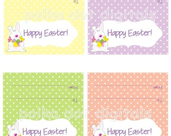 Easter Bunny Treat Bag Toppers 2 x 4 DIY Party Favor Bags Printable Digtal File Download PDF