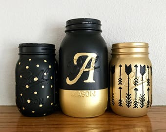 Monogram Mason Jar Set, black and gold decor, Girl's room, Shabby Chic decor, Rustic home decor, Farmhouse