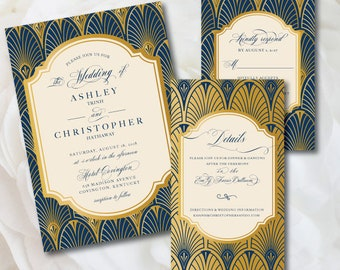 Art Deco Wedding Invitation, Great Gatsby Wedding Invitation, Formal Wedding Invitation, Gatsby Wedding, Corporate Event Invitation, Navy