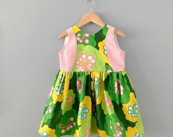 Ready to Ship, Jennite Girls Dress, Girls Spring Dress, Floral Dress, Toddler Dress, Girls Easter Dress, Girls Pink Green Floral Dress 2T