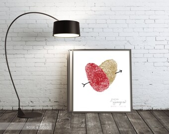 YOUR Fingerprints Couples Personalized Art - Unique Wedding or Anniversay Gift - Thumbprint Heart Print - French English Spanish