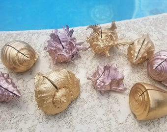 Gold Precious Metal Glam Beach Wedding Sliced Cut Assorted Metallic Seashell Shell Place Cards Table Settings Photo Holder Guest List Events