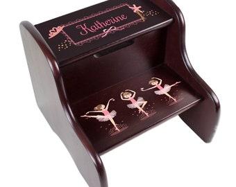 Personalized Ballerina brunette Espresso Two Step Stool