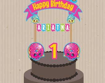Shopkins Cake Topper, Shopkins Banderin, Custom Cake Topper, Shopkins Birthday, Shopkins Topper, Printable Cake Topper