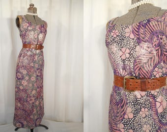 Vintage Maxi Dress / 1970s Dress / Large Summer Maxi / Boho Purple Gold Metallic