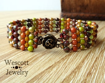 Autumn Harvest Hand Made Norelle Bracelet Cuff with Fall Warm Druk Beads and Bronze Japanese Seed Beads