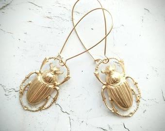 Gold Beetle Earrings Bug Earrings Insect Earrings Scarab Earrings Scarab Jewelry Beetle Jewelry Insect Jewelry Dangle Earrings Drop Earrings