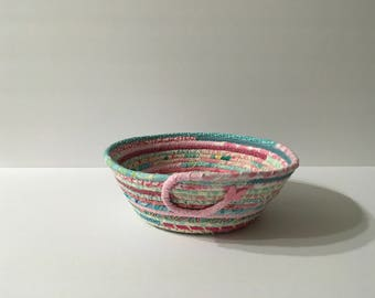 Pink and Aqua Coiled Rope Bowl, Fabric Bowl, Catchall Basket, Organizer Basket, Quiltsy Handmade