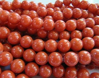 8mm Mashan Jade Beads in Dark Orange, Round, Shiny, 50 Pcs, Full Strand, Dyed, Candy Jade, Dolomite Marble, Orange Jade, Gemstones