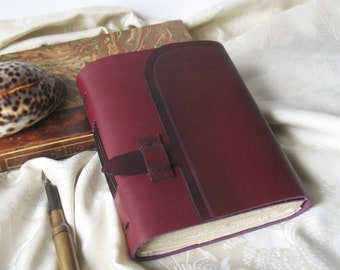 burgundy leather journal, leather notebook, travel diary, vintage style paper, burgundy blank book, pocket journal