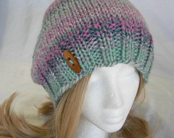 Sugar Cookie Slouch hat beanie hand knit wool button hat