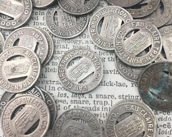 Set of 3 Tokens -vintage Eau Claire transportation bus City transit tokens - bus fare token - subway token - token - vintage token