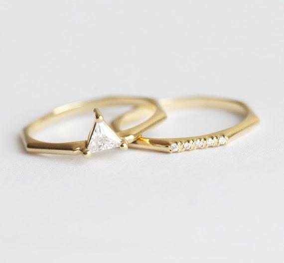 Modern Wedding Ring Set Trillion Diamond Ring Set Modern