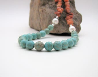 Red Aventurine Chip, Teal Magnesite, White Fresh Water Pearl and Sterling Silver Necklace
