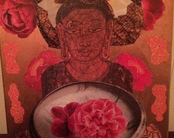 Bhudda art Buddhist collage Buddha icon outsider art