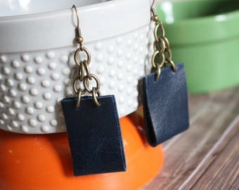 faux leather & chain earrings . navy and bronze