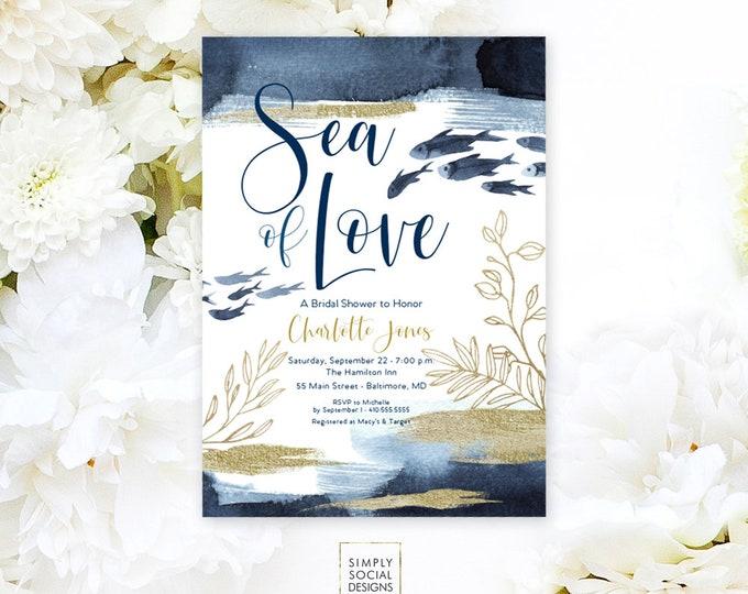 Under the Sea Fish Bridal Shower Invitation - Boho Sea of Love Coral Navy Faux Gold Foil Beach Invitation Faux Gold Glitter Watercolor