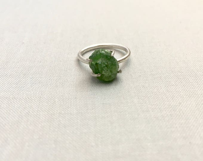 Catalina Ring - Green Garnet / California Collection // raw garnet ring, sterling silver, boho jewelry, raw gem ring, green crystal ring