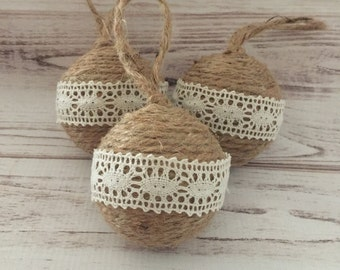 Twine Ornaments, Lace Ornament, Rustic Christmas Ornaments, Primitive Ornaments, Ornament Set, Christmas Decorations, Gift For Her, Handmade