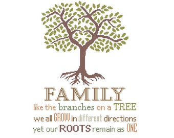 Family like the branches on a Tree grow different directions Roots remain as one Modern Cross Stitch Pattern Inspirational quote typography