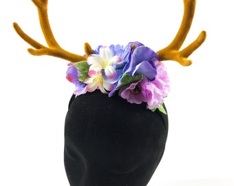 Beautiful deer stag horn flower crown Handmade by Asbeau *pastel pink purple*