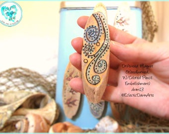 Wave Abstract Magnet, Driftwood Pyrography Magnet, #DWM13