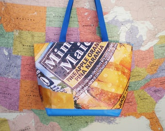 Tote bag made from a Minute Maid juice Banner