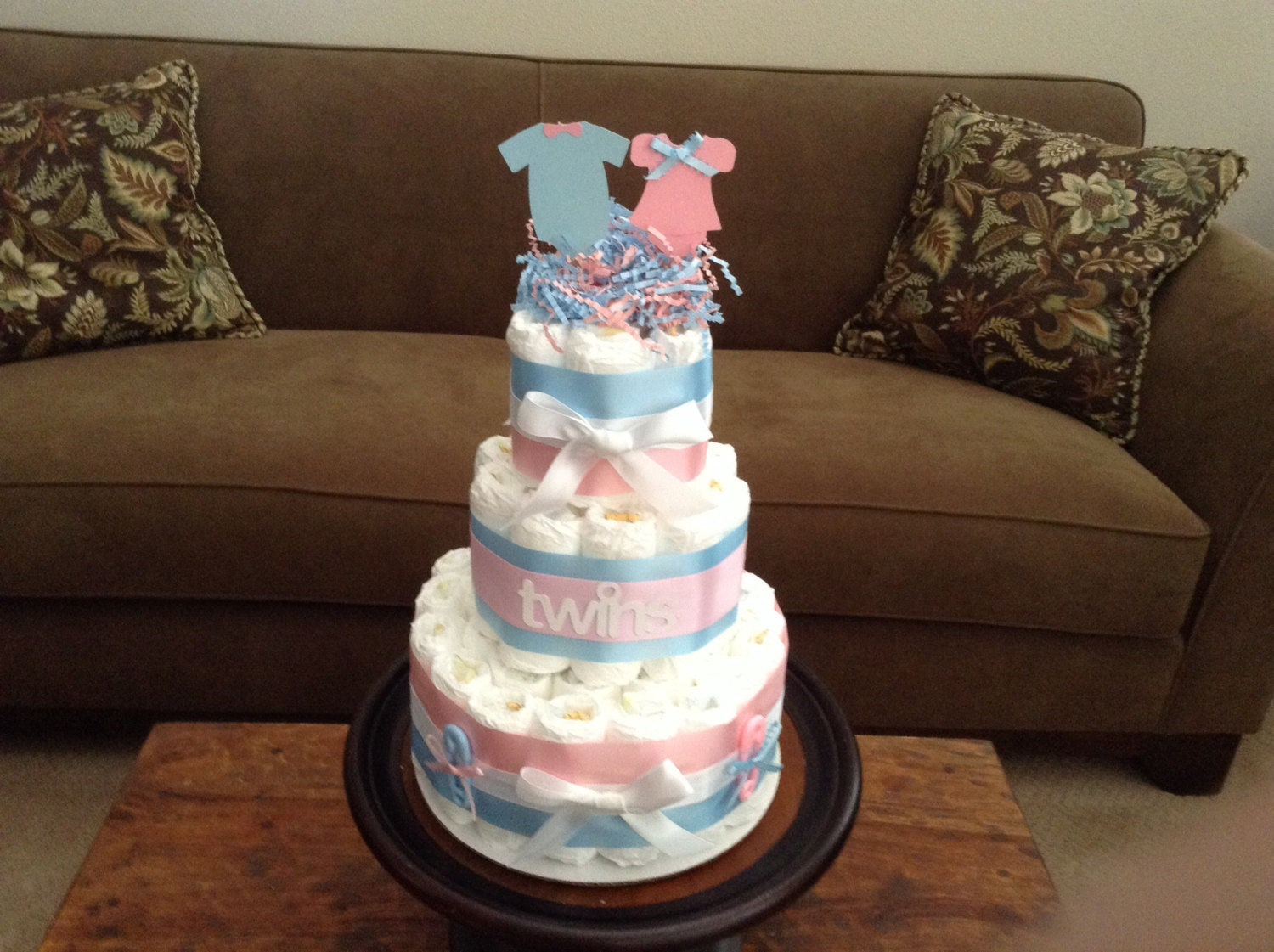 Twins Diaper Cake Baby Shower Centerpiece Other Styles And