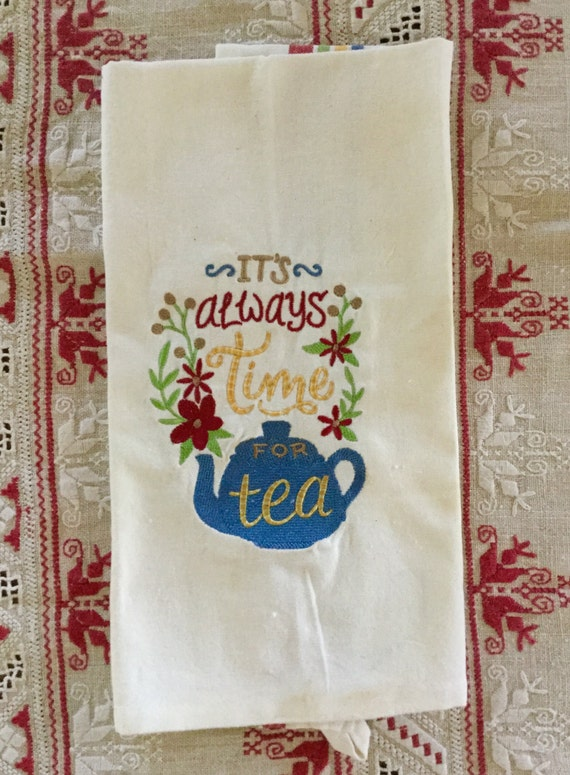 Machine embroidered tea towel vintage embroidery design