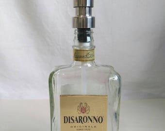 Disaronno bottle soap dispenser, 70cl Disaronno gift with stainless soap dispenser.