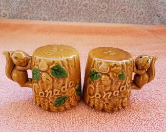 """Vintage Japan Salt & Pepper Shakers Ceramic Brown Squirrel On Tree Canada 2.5"""""""