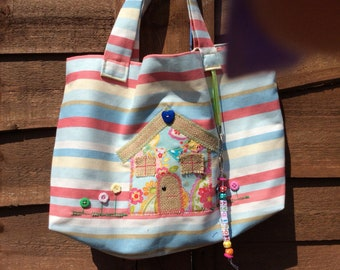 Handmade linen tote bag