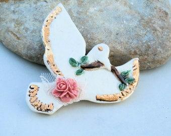 peace and love, handmade ceramic bead, gold, bird dove, olive branch, xxl pendant
