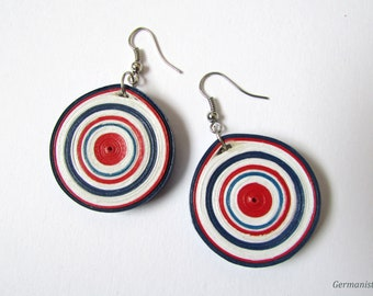 Red White Blue Paper Quilling Earrings, Quilled Circle Paper Earrings, Statement Jewelry, DIY jewelry