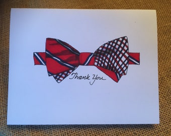 Bow Tie Note Cards, red and blue plaid