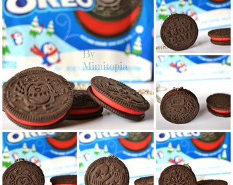 Winter oreo necklace,Oreo necklace,Biscuit oreo necklace,Polymer clay necklace,Miniature food necklace