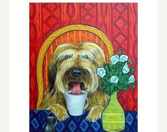 25% off briard art - Briard at the Coffee Shop Dog Art Print - briard gifts