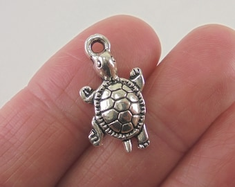 8 Turtle charms, 23x12mm, antique silver finish