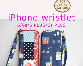 iPhone wristlet Pattern | PDF Sewing Pattern | Bag Sewing Pattern | Gadget Pouch Pattern | Mobile Phone Pouch Pattern | Cell Phone Pouch