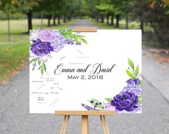 Violet Purple Wedding Guest Book, Wedding Guest Book Alternative, Purple Flowers
