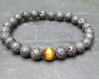Man's bracelet Diffuse bracelet Natural Lava Rock bracelet Mixed gemstone beads bracelet man's gift mens gift protection bracelet