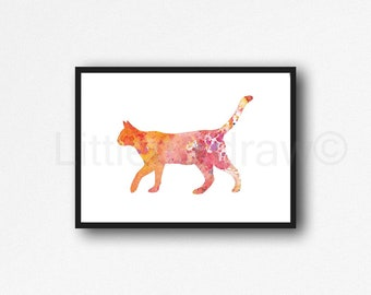 Cat Print Ginger Cat Watercolor Painting Print Orange Cat Wall Decor Cat Lover Gift Wall Art Crazy Cat Lady Art Print Home Decor